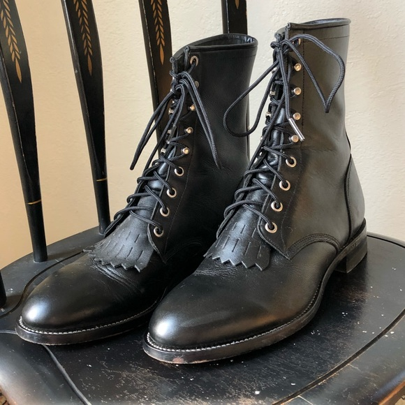 424f8528634f Lace up western Justin black leather roper boot